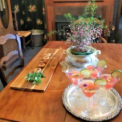 Elderflower Pink Gin Cocktails and canapes